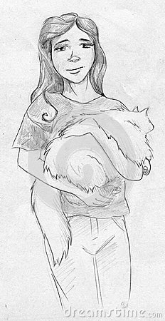 Teen girl with big white fluffy cat