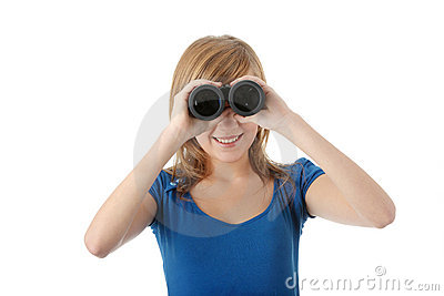 Teen girl with binocular