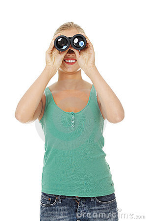 Teen girl with binoculars.