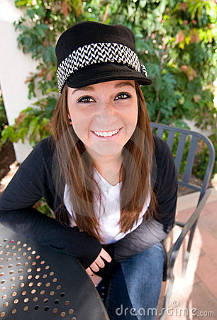Teen Girl in Black Hat