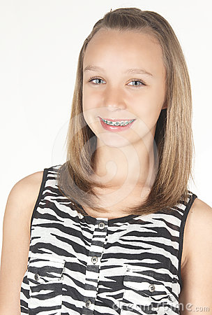 Teen Girl with Braces Head Shot