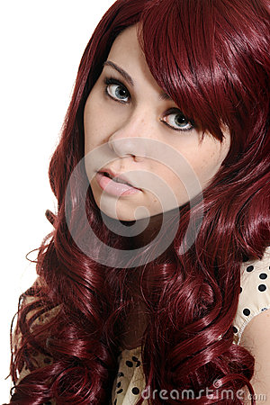 Teen girl with burgundy hair
