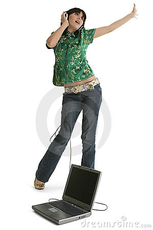 Free Teen Girl Dancing With Laptop And Headphones Royalty Free Stock Photography - 307457