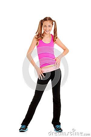 Teen girl dancing zumba workout