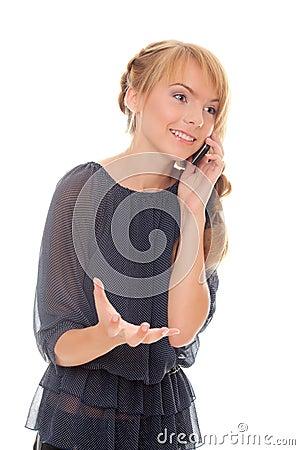 Teen girl emotional talking on mobile phone