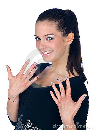 Royalty Free Stock Photos: Teen girl with fingernails tattoos