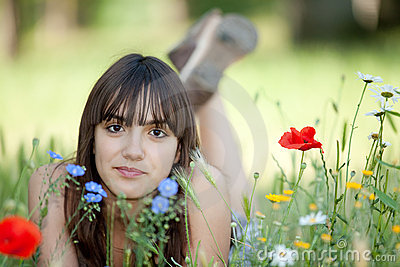 Teen girl in flowers
