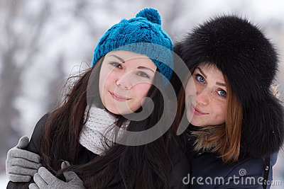 Teen girl friends outdoors in winter