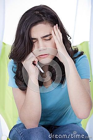 Teen girl girl stressed on phone