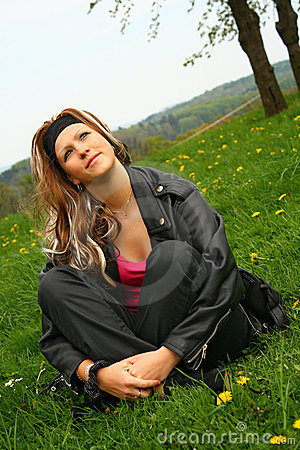 Teen girl in grass
