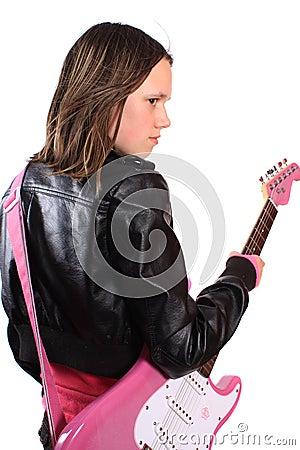 Teen girl with guitar