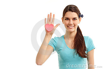 Teen girl in hand heart love symbol valentine