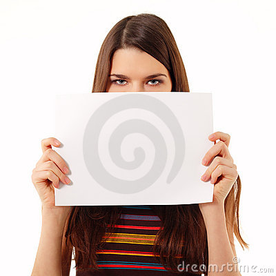 Teen girl holding blank white paper