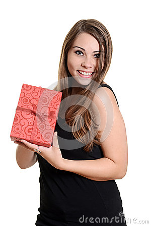 Teen girl holding christmas present