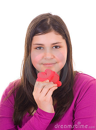 Teen girl holding valentines