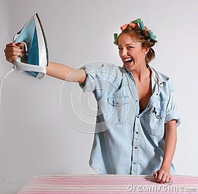 Teen girl houseworking