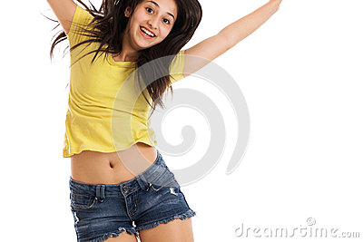 Teen girl jumping