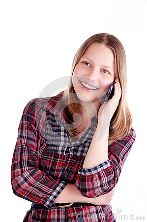 Free Teen Girl Laughing And Talking On The Phone Royalty Free Stock Photos - 41811688
