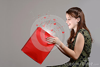Teen girl with magic surprise valentines gift