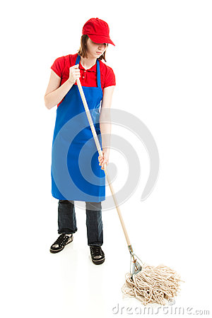 Teen Girl Mopping - Full Body