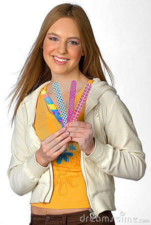 Teen girl with nail files