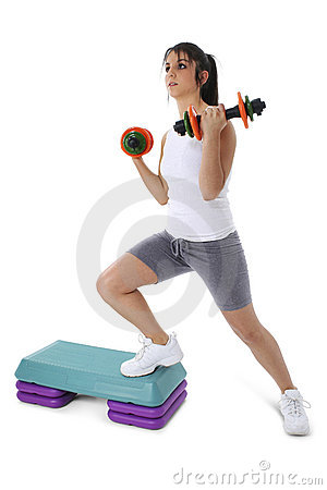 Free Teen Girl On Aerobic Step With Hand Weights Royalty Free Stock Image - 159366