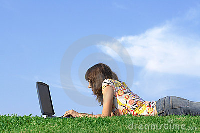 Teen girl in outdoor study