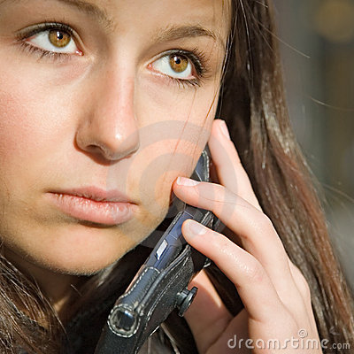 teen girl on phone