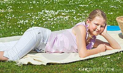 Teen girl at picnic