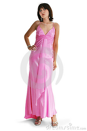 Teen Girl In Pink Formal Dress