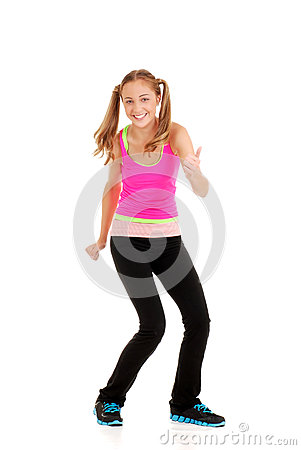 Teen girl with pink top workout zumba fitness