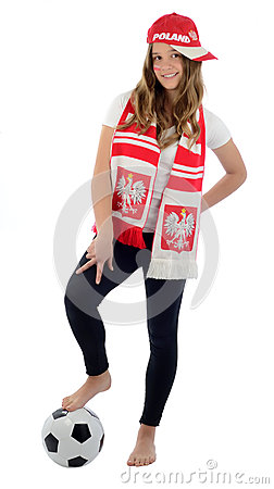 Teen girl Polish football fan