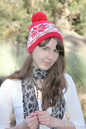Teen girl portrait with beanie hat