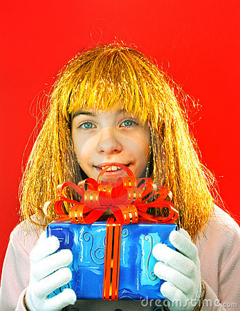Teen girl with a present