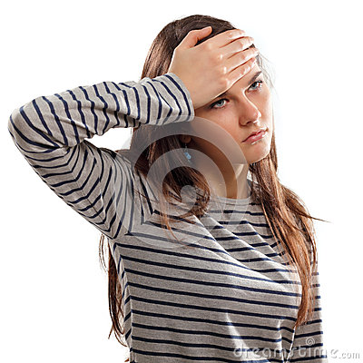 Teen girl  with problem headache depression