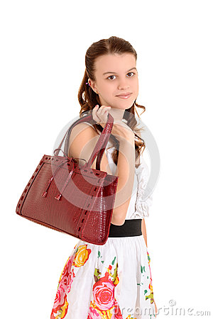 Teen girl with purse
