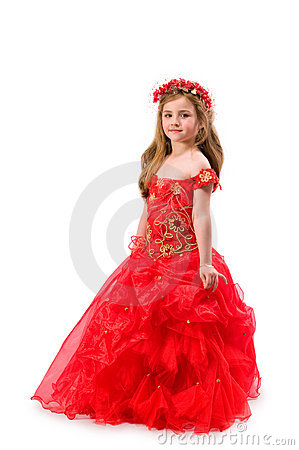 Teen girl in a red dress