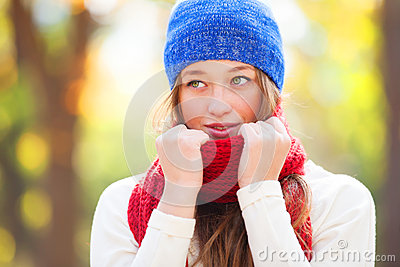 Teen girl in red scarf