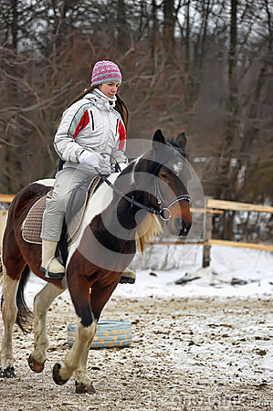 Free Teen Girl Riding A Horse Royalty Free Stock Photography - 40150907