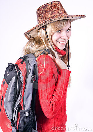 Teen girl with rucksack