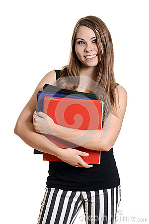 Teen girl with school books