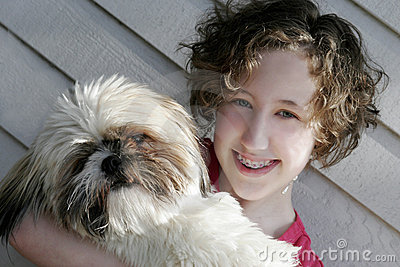 Teen Girl with Shih Tzu
