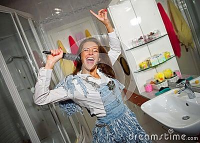 Teen girl singing
