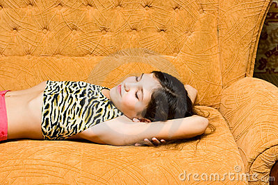 Teen girl sleep on sofa