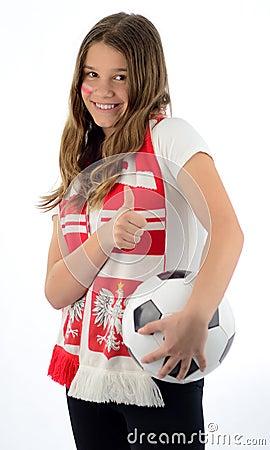 Teen girl soccer fan