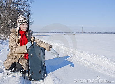 Teen girl with a suitcase