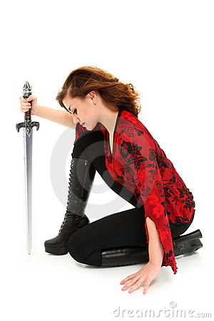 Teen Girl with Sword Clipping Path