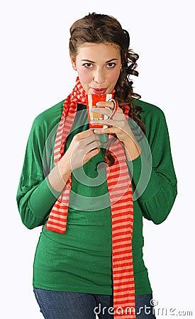 Teen girl with tea cup