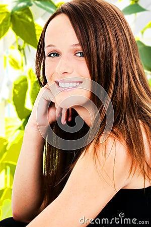 Teen Girl Teethy Smile Outside