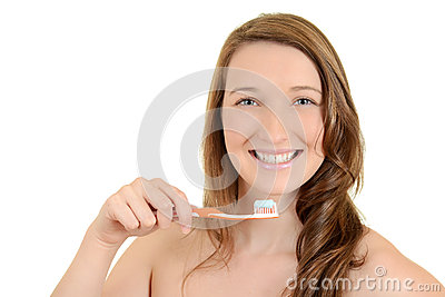 Teen girl with toothbrush